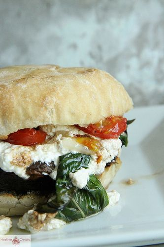 (via Grilled Potobello Mushroom Burger with Roasted Ricotta, Basil and Cherry Tomatoes | Heather Christo Cooks)