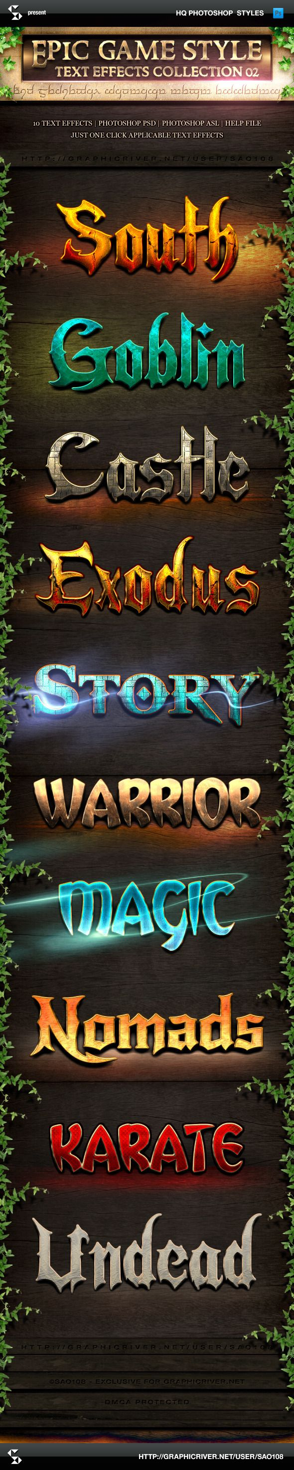 Epic Game Style Text Effects - Collection 2 (photoshop layer styles, just one click applicable text effects)