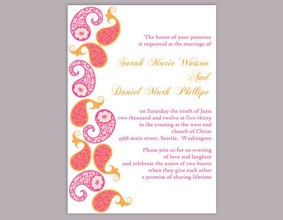 bollywood wedding invitation template download printable invitations editable orange pink
