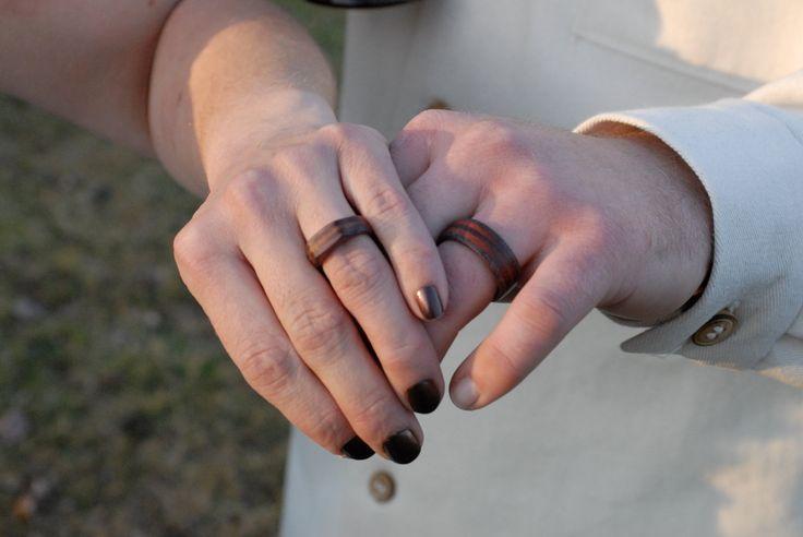 Custom Made Wood Wedding Rings Each