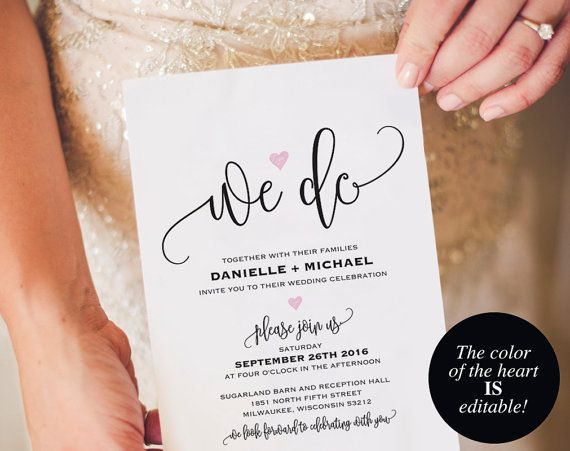We Do Wedding Invitation Template Heart By BlissPaperBoutique