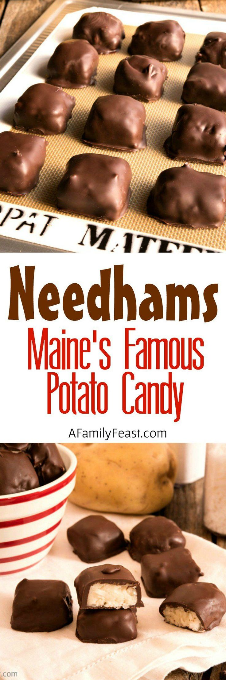 Needhams are Maine's Famous Potato Candy - Chocolate-dipped candy made with mashed potatoes, coconut and sugar. Read about this classic Maine recipe!