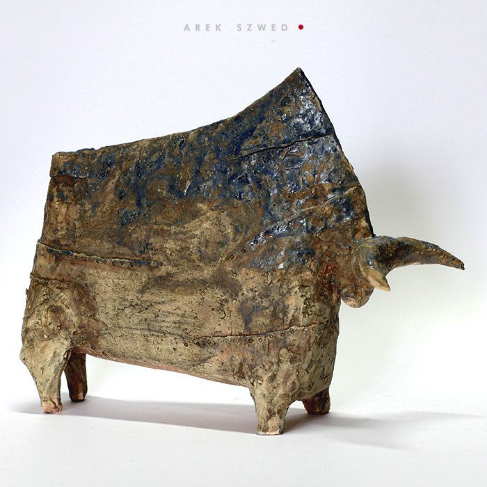 The bull/Ceramic Sculpture/ Unique Ceramic Figurine by arekszwed on Etsy