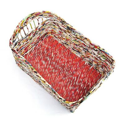 Wyplatanki, koszyk kwadratowy z gazety