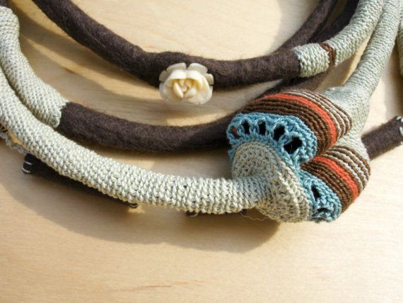 Textile necklace nO.145 by kjoo on Etsy
