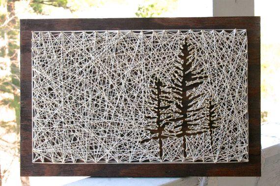 Kleine witte naaldboom String Art  String kunst boom  String