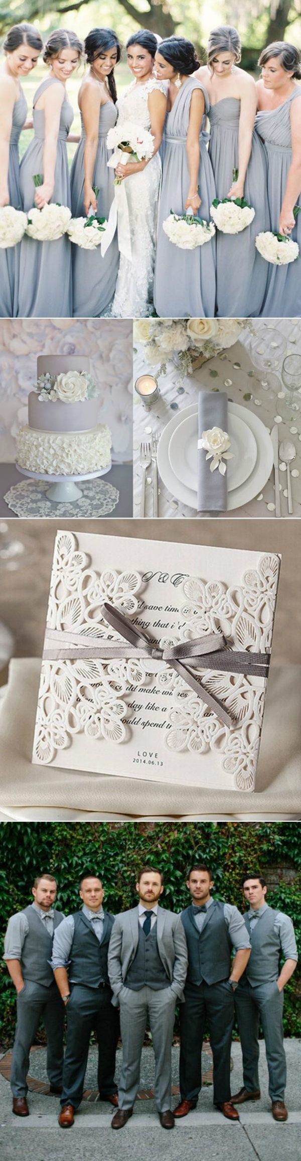 shabby chic grey wedding ideas with laser cut wedding invitations                                                                                                                                                                                 More