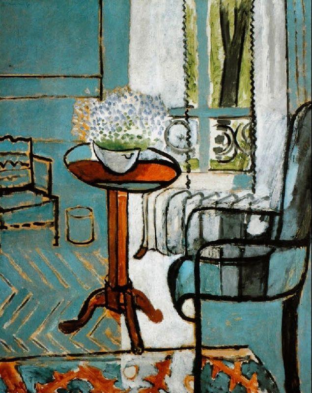 """Peinture française : Henri Matisse, 1916, """"La fenêtre"""", chevrons, vert, 1910s"""