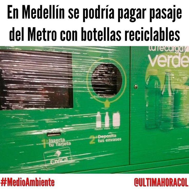 """ÚLTIMA HORA COLOMBIA (@ultimahoracol) en Instagram: En Medellín, se podría pagar el pasaje del Metro con botellas reciclables gracias a una prueba…"""""""