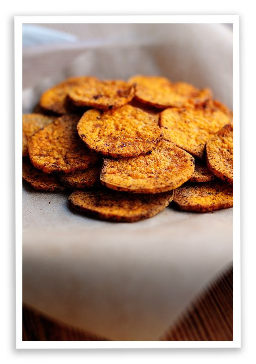 Sweet Potato Chips.... I bet I have pinned this already.... am just heating the oven up to try these.