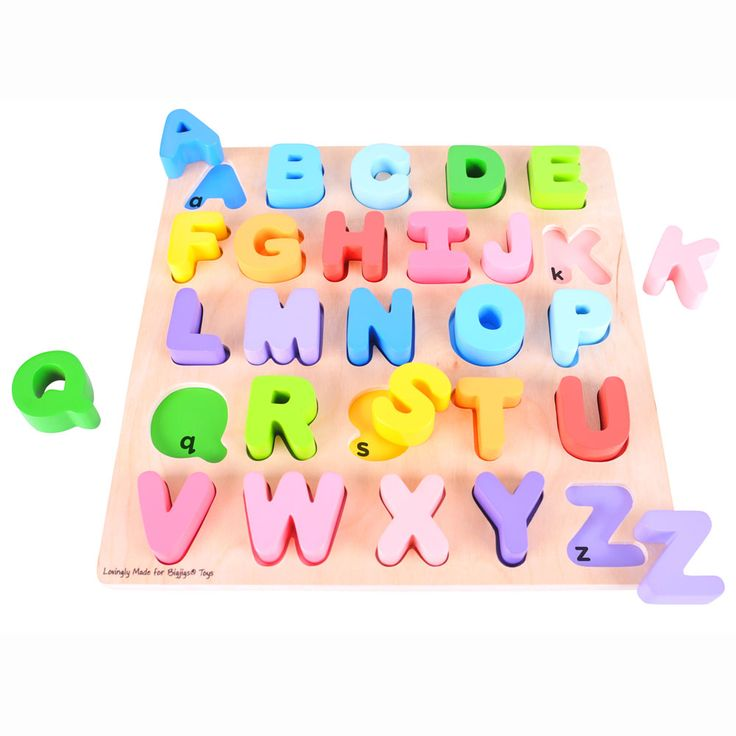 Learning the alphabet need not be daunting with the help of this brightly coloured puzzle. Each carefully crafted individual letter is colour coded with its base slot to help develop recall and recognition skills. Made from high quality, responsibly sourced materials. All Bigjigs Toys conform to current European safety standards. Consists of 26 puzzle pieces. Ages 18 months and up.   http://shop.bigjigstoys.co.uk/p/chunky-alphabet-puzzle
