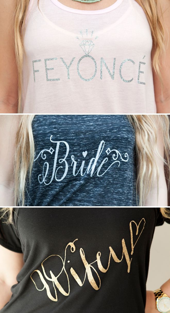 DIY Feyonce, Bride and Wifey Iron On Shirts by @jencarreiro