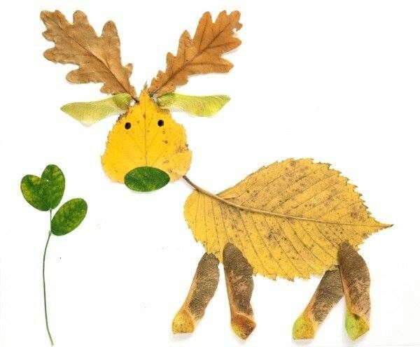 What a cute fall leaf activity!  Choose leaves from a pile at the center of the table, and create your own animal!