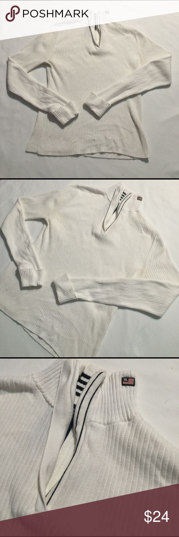 Classic polo jeans co women's quarter zip! Sz. L Amazing almost vintage polo jeans co quarter zip for women's! Sz. L fits a M! It great condition, small red marks on back but not noticeable! Condition: 8/10 Sz. L Polo by Ralph Lauren Sweaters Cowl & Turtlenecks