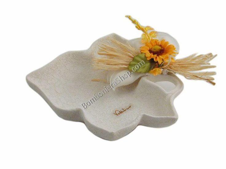 Foglia svuotatasche in ceramica con applicazione fiore girasole