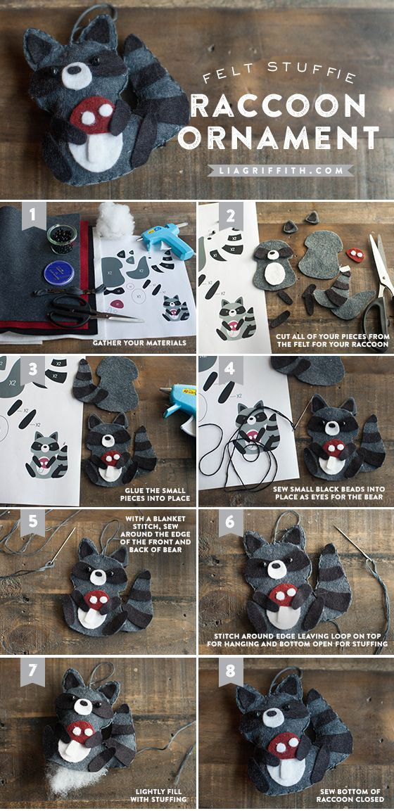 Continuing with our adorable felt animal ornament series, today we are sharing with you the pattern and tutorial for the raccoon. I just love this little guy holding his red mushroom. How cute will he be on top of your gift or hanging from your tree.