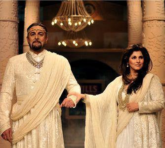 Dimple Kapadia and Kabir Bedi walk for JJ Valaya