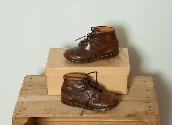 Vintage 1940s 1950s Brown Toddler Boy Ankle Boots Shoes