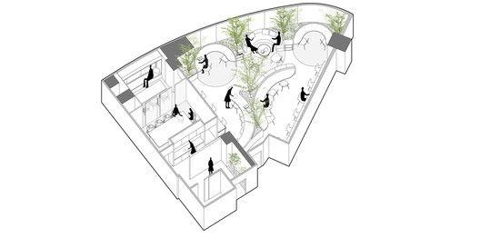 A Hidden Garden Behind the Concrete Walls,Axonometric Drawing