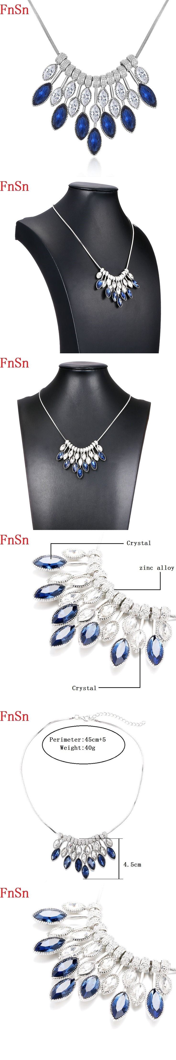 FnSn New Hot Chokers Crystal Statement Necklace Jewelry Women Collar Gift Silver High Quality Turkish jewelry Parure Sale N148