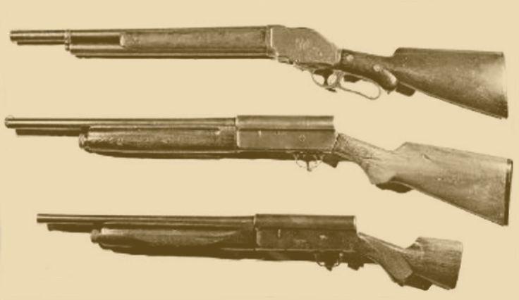 "TOP: Model 1887 10 gauge ""riot gun""  MIDDLE: Remington Model 11 ""sawed-off""  BOTTOM: Bonnie's Remington ""Whipit"" gun"