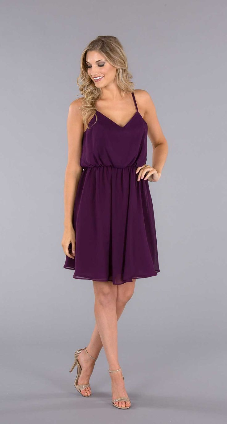 The trendy blouson bodice bridesmaid dress with fitted underlay will make your girls feel secure wearing it all day!