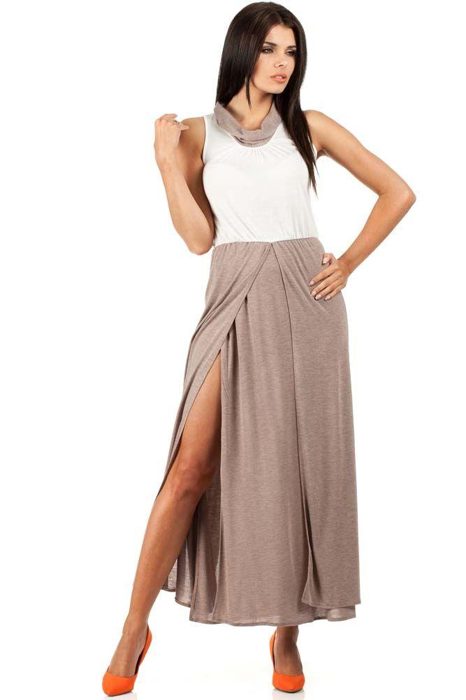 Stylowa sukienka maxi z marszczeniami na biuście
