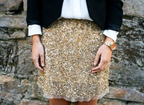 My kind of business attire.Sequins Shirts, Gorgeous Skirts, Style, Sequins Skirts, Gold Skirts, Saia Mini-Sequins, Gold Sequins
