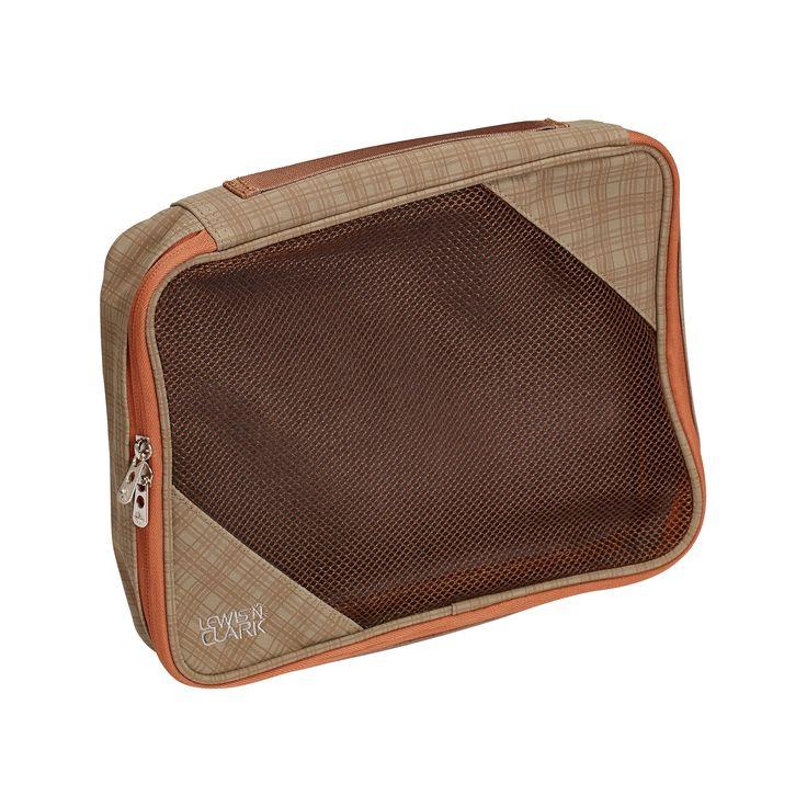 Lewis N. Clark Packing Cube, Medium - Plaid (Taupe/Pumpkin (Brown/Pumpkin) Orange)