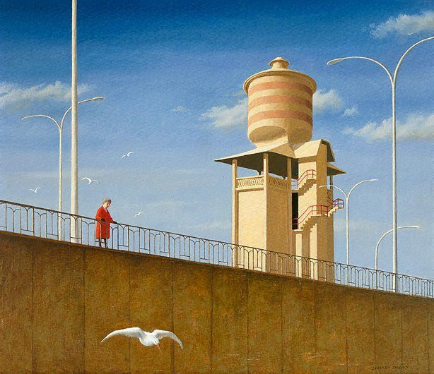 An image of Alma Mahler feeding the birds by Jeffrey Smart