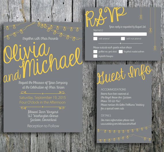 "Grey and Yellow wedding invitation printable. The ""Love in Lights"" collection now includes grey and yellow. The design includes calligraphy style font decorated with string lights. Great for a rustic wedding or modern wedding. LangDesignShop via Etsy"