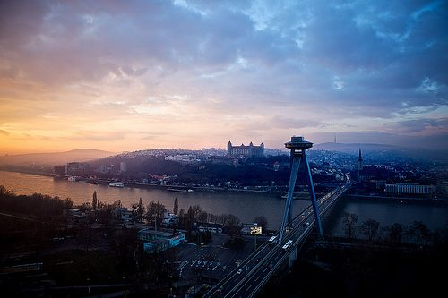 """Sunset over Bratislava    """"A view from my office in the Aupark Tower, a high-rise office building in Petržalka. All the most important city dominants are visible from here :)""""    by Michal Trnka"""