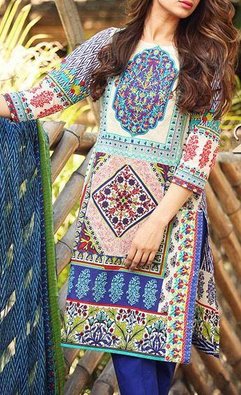 Buy Multi-ColorEmbroidered Cotton Lawn Dress by RajBari Spring Summer Vol.1 2015.