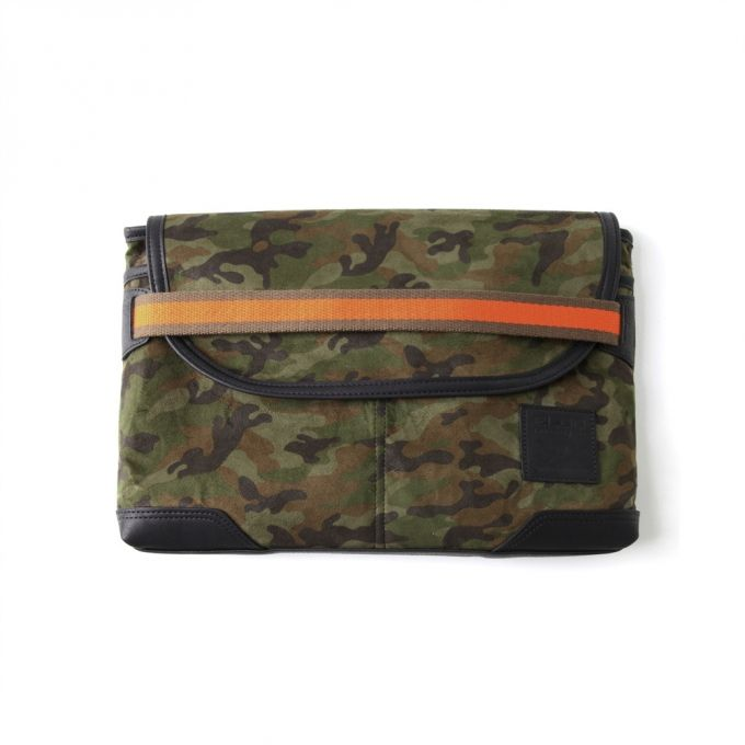Camouflage printed faux suede Webbing detail in edgy color Leather emblem accent Useful pocket