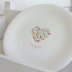 This personalized plate is so simple, but so colorful at the same time! This would be fairly simple to recreate using our funwriters for the dots in the heart!