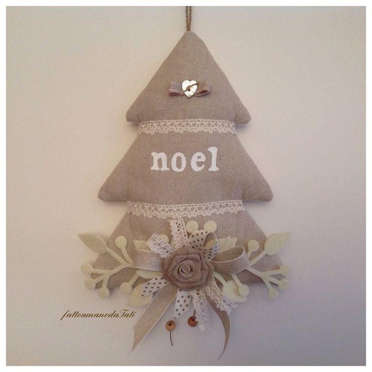 Albero noel decorato tinte naturale con cuore in madreperla avorio, by fattoamanodaTati, 24,00 € su misshobby.com