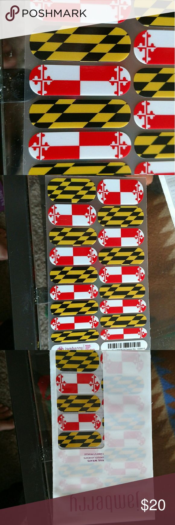 Maryland flag jamberry wraps Brand new half sheet jamberry NAS Maryland flag wraps. I personally designed these wraps on the nail art studio.Brand New half sheet of jamberry wraps. Jamberry wraps can last 2 weeks or more on nails. Each half sheet is enough for one manicure, one pedicure, and 2 accent nails. Each purchase comes with application instructions! Bundle to save! Jamberry Other
