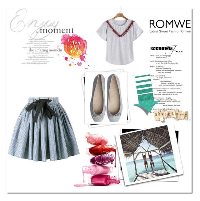 """""""Heather-Grey-Embroidered-Tape-Detail-Pom-Pom-T-shirt"""" by selma-ca ❤ liked on Polyvore featuring Miu Miu, GALA and romwe"""