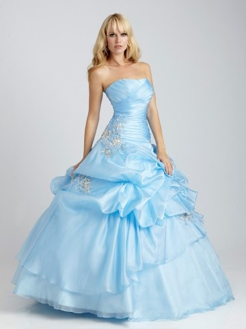 2012 Style Ball-Gown Strapless Ruffles  Sleeveless Floor-length Elastic Woven Satin expect in pink, bridesmaid dresses