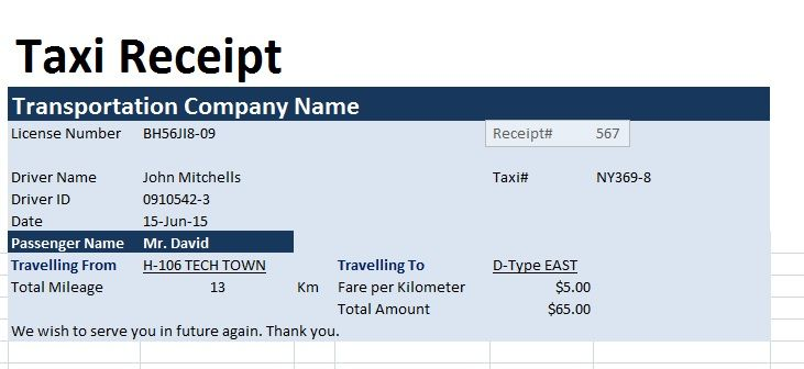 Free Printable Modern Taxi Receipt Template