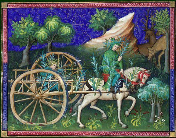 Gaston Fébus  Le livre de chasse, folio 114    ci devise comment on peut mettre la charrette pour tirer les bêtes