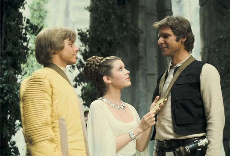 Mark Hamill, Carrie Fisher, & Harrison Ford ~ Star Wars promo shot from Massassi Temple set | via StarWars.com