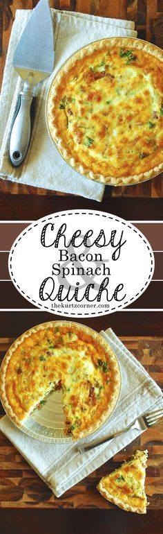 This cheesy bacon and spinach quiche is a dish that you should probably make extras of because your guests will definitely gobble it up!