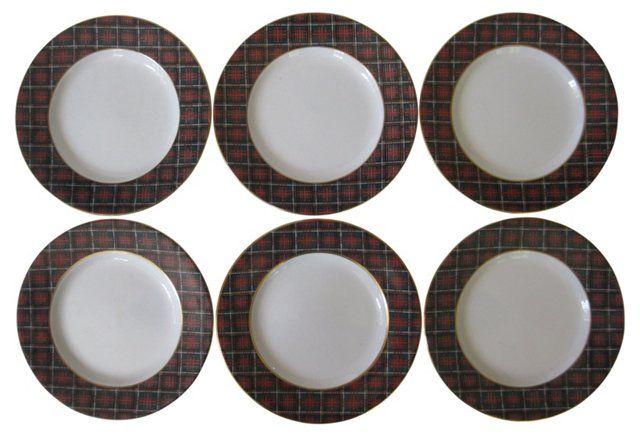 "Wedgwood Ralph Lauren Tartan Plates   one kings lane   Bold set of six Wedgwood English porcelain salad or dessert plates in Ralph Lauren's Anderson Tartan design. Gilded rims. Marked ""Ralph Lauren Anderson Tartan Wedgwood Made in England.""   c.1980's   8""   359.00"