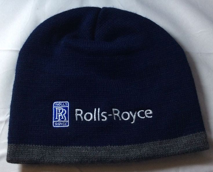 Rolls Royce Knit Hat Beanie Cap Embroidered Navy Blue And