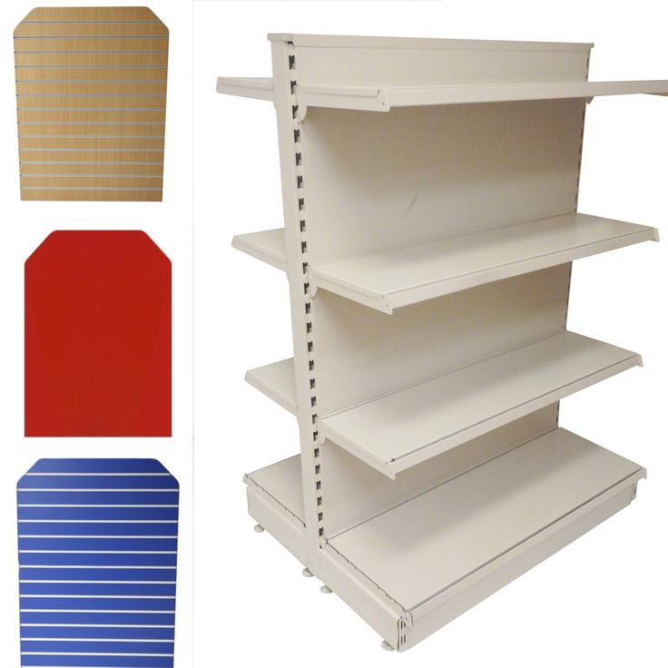 Freestanding gondola shelving unit. Why not add a slatwallpanel to your shelving unit to create extra retail display. Add slatwall accessories to your slatwall to suit your products.  At Shopfitting Supplies you will find everything you need all under one roof to complete your retail display.  #slatwall #shopfittings #retaildisplay #gondola #shelving #shopshelving