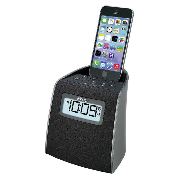 iHome Docking Clock Radio with Lightning Dock for iPhone/iPod - Gunmetal (iPL22G), Black