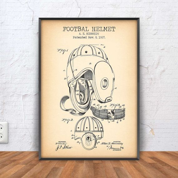 FOOTBALL HELMET poster football patent football by PrintPoint