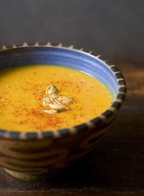 Thai spiced pumpkin soup. Super easy, healthy, seasonal, and crazy delicious. We used homemade vegetable stock instead of water.