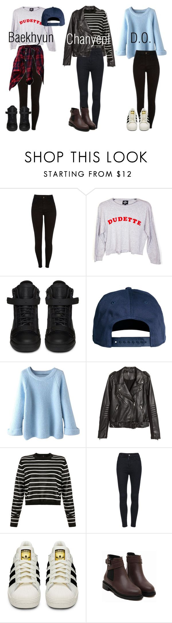 """""""EXO Inspired Outfits Pt.2"""" by fangirlkaly8102 ❤ liked on Polyvore featuring Valfré, Giuseppe Zanotti, H&M, TIBI, adidas, kpop and EXO"""